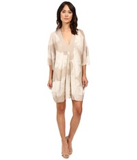 Halston Long Sleeve V Neck Printed Mini Kaftan Dress Pebble Botanical Print Women's Dress White