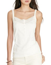 Lauren Ralph Lauren Lace Trimmed Cotton Tank Top Pearl
