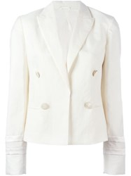 Brunello Cucinelli Single Breasted Boxy Blazer White