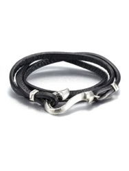 John Hardy Sterling Silver And Leather Wrap Bracelet Black