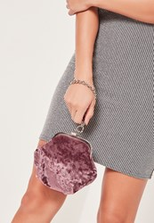 Missguided Chain Handle Velvet Clutch Bag Pink