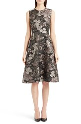 Women's Dolce And Gabbana Metallic Floral Jacquard A Line Dress