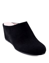 Taryn Rose Boston Suede Wedge Mules Distressed Black