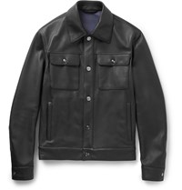 Brioni Full Grain Leather Jacket Blue