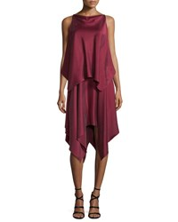 Elizabeth And James Greer Sleeveless Satin Handkerchief Dress Raspberry