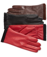 Charter Club Micro Faux Fur Lined Leather Tech Gloves Only At Macy's Black