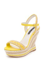Alice Olivia Janaya Wedge Sandals Lemon Natural