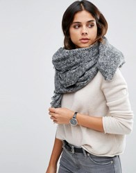 Asos Oversized Square Woven Scarf In Two Tone Grey
