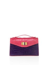 Ethan K The 22 Two Tone Crocodile Top Handle Satchel Pink Navy