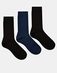 French Connection 3 Pack Socks Blkgry