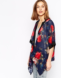 Iska Floral Kimono With Waterfall Front Navy