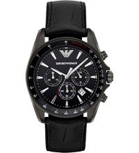 Emporio Armani Ar6097 Sigma Stainless Steel And Leather Watch Black