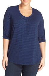 Sejour Plus Size Women's Stripe Three Quarter Sleeve Tee