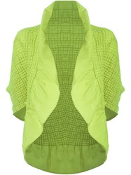 Issey Miyake Open Front Ruffled Jacket Green