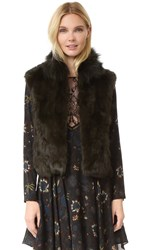 Adrienne Landau Textured Rabbit Vest Dark Green