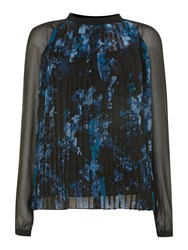 Adrianna Papell Printed Pleated Long Sleeve Blouse Blue Multi