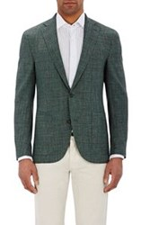 Luciano Barbera Men's Slub Two Button Sportcoat Green
