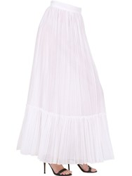 Valentino Organdy Pleated Cotton Long Skirt