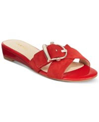 Nine West Tiggy Buckle Demi Wedge Sandals Women's Shoes Dynasty Red Suede