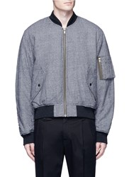 Haider Ackermann Fleece Wool Houndstooth Knit Bomber Jacket Grey