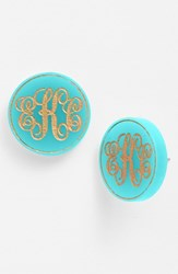 Women's Moon And Lola 'Chelsea' Medium Personalized Monogram Stud Earrings Robins Egg Gold Nordstrom Exclusive