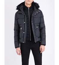 The Kooples Quilted Faux Fur And Wool Blend Jacket Black