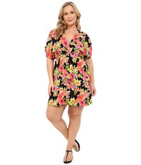 Lauren Ralph Lauren Plus Size Brilliant Floral Farrah Dress Cover Up Black Women's Swimwear