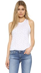 Stateside Printed Rose Slub Tank White