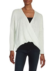 Design Lab Lord And Taylor Knit Faux Wrap Top Mint