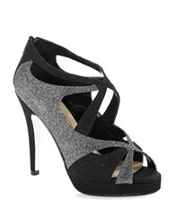 E Live From The Red Carpet Geraldine Glitter Stilettos Black Silver Flash