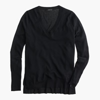 J.Crew Petite Merino Wool V Neck Tunic Sweater Black