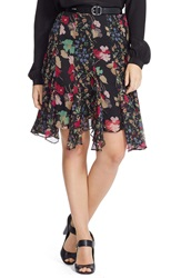 Lauren Ralph Lauren Floral Print Godet Panel Georgette Skirt Plus Size Black Multi