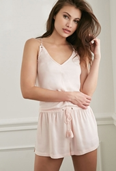 Forever 21 Crochet Trimmed Pj Romper Light Pink