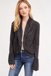 Anthropologie Scalloped Cardigan Dark Grey