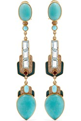 Percossi Papi Gold Plated Multi Stone Earrings Gold Blue