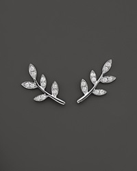 Bloomingdale's Diamond Leaf Ear Climbers In 14K White Gold .20 Ct. T.W.
