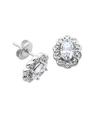 Lord And Taylor April Birthstone Cubic Zirconia Sterling Silver Stud Earrings