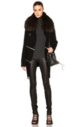 Barbara Bui Long Zip Cardigan With Raccoon Fur Collar In Black