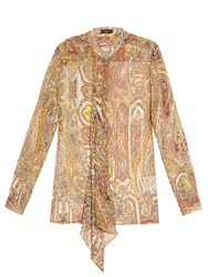 Etro Decorative Print Silk Blend Georgette Blouse Yellow Multi