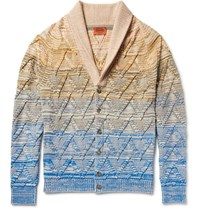 Missoni Degrade Cotton Wool And Linen Blend Cardigan Neutrals