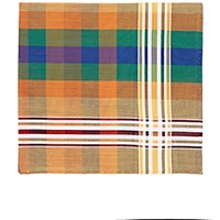 Simonnot Godard Men's Plaid Madras Pocket Square Red