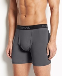 32 Degrees Cool By Weatherproof Men's Athletic Performance Boxer Briefs Charcoal