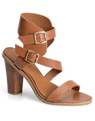Carmen Marc Valvo Carrie Leather Sandal Brown