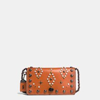 Coach Western Rivets Dinky Crossbody In Glovetanned Leather Black Copper Ginger