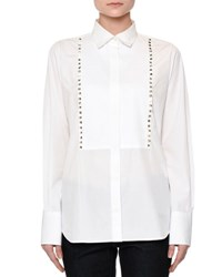 Valentino Long Sleeve Rockstud Bib Blouse White