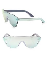 Kyme Tamara Mirrored Shield Sunglasses Silver