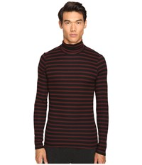 Atm Anthony Thomas Melillo Striped Long Sleeve Rib Turtleneck Sweater Rust Black Stripe Men's Sweater Mahogany