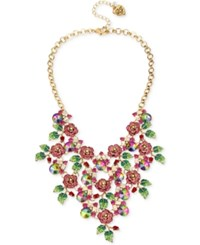 Betsey Johnson Gold Tone Pave Multi Rose And Leaf Statement Necklace