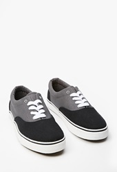 Forever 21 Colorblocked Canvas Sneakers Black Grey