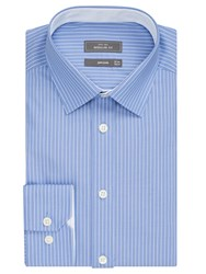 John Lewis Non Iron Stripe Regular Fit Shirt Blue White